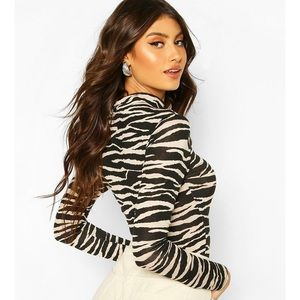Petite Tiger Print High Neck Longsleeve Top